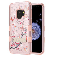 Military Grade TUFF Diamond Case with Stand for Samsung Galaxy S9 - Butterfly Spring Flower Rose Gold