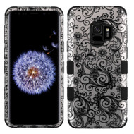 Military Grade Certified TUFF Image Hybrid Armor Case for Samsung Galaxy S9 - Four Leaves Clover Black