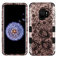 Military Grade Certified TUFF Image Hybrid Armor Case for Samsung Galaxy S9 - Four Leaves Clover Rose Gold