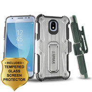 *SALE* HD Holster Case + Tempered Glass for Samsung Galaxy J3 (2018) / J3 Achieve / J3 Star - Silver