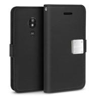 Essential Leather Wallet Case for Motorola Moto E5 Plus - Black