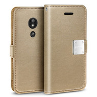 *SALE* Essential Leather Wallet Case for Motorola Moto E5 Plus - Gold
