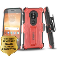 Heavy Duty Dual Layer Hybrid Armor Case + Holster + Tempered Glass for Motorola Moto E5 Play / E5 Cruise - Red