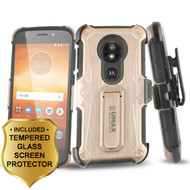 Heavy Duty Dual Layer Hybrid Armor Case + Holster + Tempered Glass for Motorola Moto E5 Play / E5 Cruise - Rose Gold