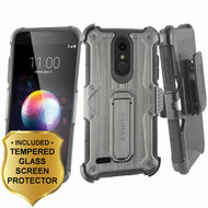Heavy Duty Dual Layer Hybrid Armor Case with Holster and Tempered Glass for LG K30 / Harmony 2 / Premier Pro - Black