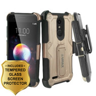 *SALE* Heavy Duty Dual Layer Hybrid Case + Holster + Tempered Glass for LG K30 / Harmony 2 / Premier Pro - Rose Gold