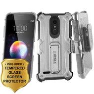 *SALE* Heavy Duty Dual Layer Hybrid Armor Case with Holster and Tempered Glass Screen Protector for LG K30 - Silver
