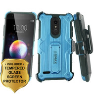 *SALE* Heavy Duty Dual Layer Hybrid Armor Case + Holster + Tempered Glass for LG K30 / Harmony 2 / Premier Pro - Blue
