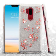 Full Glitter Diamond Hybrid Protective Case for LG G7 ThinQ - Butterflies Spring Flowers