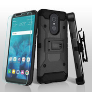 3-IN-1 Kinetic Hybrid Armor Case with Holster and Tempered Glass Screen Protector for LG Stylo 4 / Stylo 4 Plus - Black