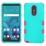 Military Grade Certified TUFF Hybrid Armor Case for LG Stylo 4 / Stylo 4 Plus - Teal Green Electric Pink