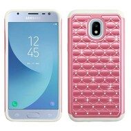 TotalDefense Diamond Hybrid Case for Samsung Galaxy J3 (2018) - Pearl Pink Grey