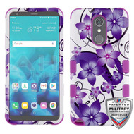 Military Grade Certified TUFF Hybrid Armor Case for LG Stylo 4 / Stylo 4 Plus - Purple Hibiscus Flowers Romance