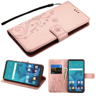 Embossed Butterfly Flower Leather-Style Wallet Stand Case for LG Stylo 4 / Stylo 4 Plus - Rose Gold