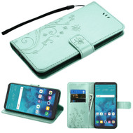 Embossed Butterfly Flower Leather-Style Wallet Stand Case for LG Stylo 4 / Stylo 4 Plus - Teal Green