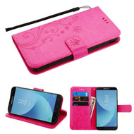 Embossed Butterfly Flower Leather-Style Wallet Stand Case for Samsung Galaxy J7 (2018) / J7 Refine - Hot Pink