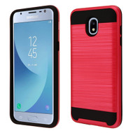 *Sale* Brushed Coated Hybrid Armor Case for Samsung Galaxy J3 (2018) / J3 Achieve / J3 Star - Red