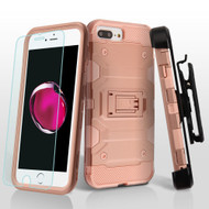 Military Grade Storm Tank Holster Case + Tempered Glass for iPhone 8 Plus / 7 Plus / 6S Plus / 6 Plus - Rose Gold