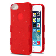 Tuff Full Glitter Hybrid Protective Case for iPhone SE / 5S / 5 - Red