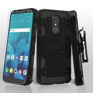 Military Grade Certified Storm Tank Hybrid Case + Holster + Tempered Glass Screen Protector for LG Stylo 4 - Black