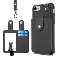 Vintage Hybrid Leather Wallet with Detachable Card Case and Hand Strap for iPhone 8 / 7 / 6S / 6 - Black