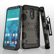 *SALE* Military Grade Certified Storm Tank Hybrid Case + Holster + Tempered Glass Screen Protector for LG Stylo 4 - Grey
