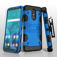 Military Grade Certified Storm Tank Hybrid Case + Holster + Tempered Glass Screen Protector for LG Stylo 4 - Blue