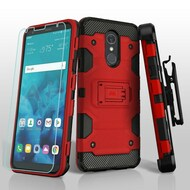 *SALE* Military Grade Certified Storm Tank Hybrid Case + Holster + Tempered Glass Screen Protector for LG Stylo 4 - Red