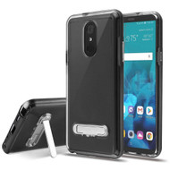 Bumper Shield Clear Transparent TPU Case with Magnetic Kickstand for LG Stylo 4 / Stylo 4 Plus - Black
