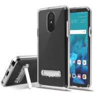 Bumper Shield Clear Transparent TPU Case with Magnetic Kickstand for LG Stylo 4 / Stylo 4 Plus - Silver