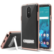 Bumper Shield Clear Transparent TPU Case with Magnetic Kickstand for LG Stylo 4 / Stylo 4 Plus - Rose Gold