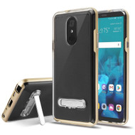 Bumper Shield Clear Transparent TPU Case with Magnetic Kickstand for LG Stylo 4 / Stylo 4 Plus - Gold