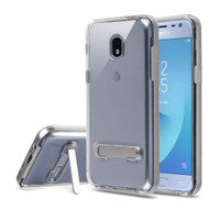 Bumper Shield Clear Transparent TPU Case with Magnetic Kickstand for Samsung Galaxy J3 (2018) - Silver