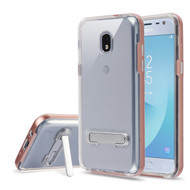 Bumper Shield Clear Transparent TPU Case with Magnetic Kickstand for Samsung Galaxy J3 (2018) - Rose Gold