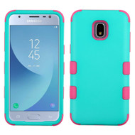 Military Grade Certified TUFF Hybrid Armor Case for Samsung Galaxy J3 (2018) - Teal Green Electric Pink