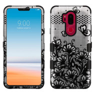 Military Grade Certified TUFF Image Hybrid Armor Case for LG G7 ThinQ - Lace Flowers Black