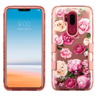 Military Grade Certified TUFF Image Hybrid Armor Case for LG G7 ThinQ - Roses Rose Gold