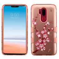 Military Grade Certified TUFF Image Hybrid Armor Case for LG G7 ThinQ - Spring Flower Rose Gold