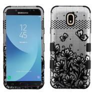 Military Grade Certified TUFF Image Hybrid Armor Case for Samsung Galaxy J7 (2018) / J7 Refine - Lace Flowers Black