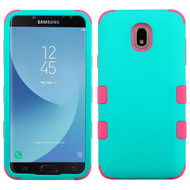 Military Grade Certified TUFF Hybrid Armor Case for Samsung Galaxy J7 (2018) / J7 Refine - Teal Green Electric Pink