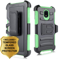 *Sale* Advanced Armor Hybrid Kickstand Case + Holster + Tempered Glass Protector for Samsung Galaxy J3 (2018) - Green