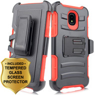 *SALE* Advanced Armor Hybrid Kickstand Case + Holster + Tempered Glass for Samsung Galaxy J3 (2018) - Red