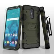 Military Grade Certified Storm Tank Hybrid Case + Holster + Tempered Glass Screen Protector for LG Stylo 4 - Green