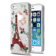 Tuff Full Diamond Glitter Hybrid Protective Case for iPhone SE / 5S / 5 - Paris Monarch Butterflies