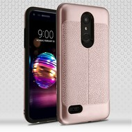 Leather Texture Anti-Shock Hybrid Protection Case for LG K30 / Harmony 2 / Phoenix Plus / Premier Pro - Rose Gold