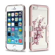 TUFF Panoview Diamante Transparent Hybrid Case for iPhone SE / 5S / 5 - Spring Flowers