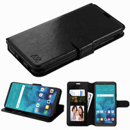 Book-Style Leather Folio Wallet Case for LG Stylo 4 / Stylo 4 Plus - Black