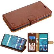 *SALE* Book-Style Leather Folio Wallet Case for LG Stylo 4 / Stylo 4 Plus - Brown