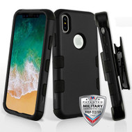 Military Grade Certified TUFF Hybrid Armor Case with Holster for iPhone XS / X - Black 001