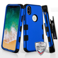 Military Grade Certified TUFF Hybrid Armor Case with Holster for iPhone XS / X - Blue 005